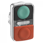 Double-headed pushbutton 1 Flush/1 Projecting/1 Central pilot light, Green Unmarked/Red Unmarked