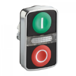 "Double-headed pushbutton 1 Flush/1 Projecting/1 Central pilot light, Green ""I"", Red ""O"""