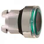 Green head for pushbutton, Flush, for Integral LED with illuminated ring