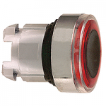 Red head for pushbutton, Flush, for Integral LED with illuminated ring