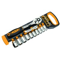 """Wrench set with extension, 12 metric tips 4 - 14 mm size 1/4 """"industrial class"""