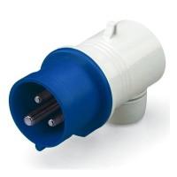 Plug EUREKA IP44, 200-250 V, 16 A, 2+E, 6 h, agled outlet