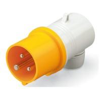 Plug EUREKA IP44, 100-130 V, 32 A, 2+E, 4 h, agled outlet