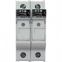 Fuse-holder, LV, 30 A, AC 600 V, 10 x 38 mm, CC, 2P, UL, indicating, DIN rail mount