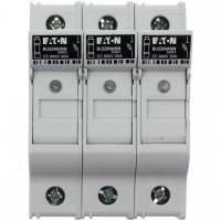 Fuse-holder, LV, 30 A, AC 600 V, 10 x 38 mm, CC, 3P, UL, indicating, DIN rail mount