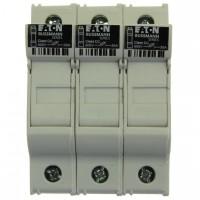 Fuse-holder, LV, 30 A, AC 600 V, 10 x 38 mm, CC, 3P, UL, DIN rail mount