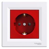 Single Socket-outlet with shutter and red center plate (side earth), White