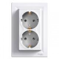 Double Socket-outlet (side earth), White