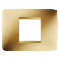 Cover Plate Chorus ONE IT, Metallised Technopolymer, Gold, 2 modules, Horizontal
