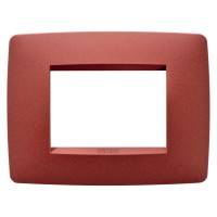 Cover Plate Chorus ONE IT, Painted Technopolymer Pastel Colours, Ruby, 3 modules, Horizontal