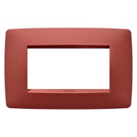 Cover Plate Chorus ONE IT, Painted Technopolymer Pastel Colours, Ruby, 4 modules, Horizontal