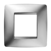 Cover Plate Chorus ONE INTERNATIONAL, Metallised Technopolymer, Chrome, 2 modules, Horizontal, Vertical