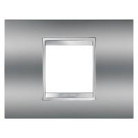 Cover Plate Chorus LUX IT, Metallised Technopolymer, Chrome, 2 modules, Horizontal