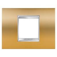 Cover Plate Chorus LUX IT, Metallised Technopolymer, Gold, 2 modules, Horizontal
