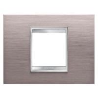 Cover Plate Chorus LUX IT, Metal, Brushed Aluminium, 2 modules, Horizontal