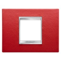 Cover Plate Chorus LUX IT, Leather, Ruby, 2 modules, Horizontal