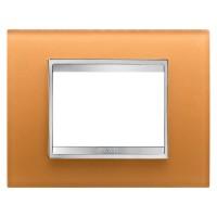 Cover Plate Chorus LUX IT, Glass, Ochre, 3 modules, Horizontal