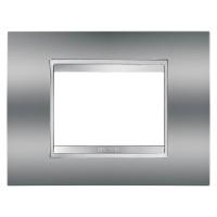 Cover Plate Chorus LUX IT, Metallised Technopolymer, Chrome, 3 modules, Horizontal