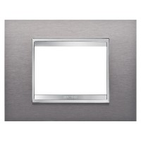 Cover Plate Chorus LUX IT, Stainless Steel, Brushed Stainless Steel, 3 modules, Horizontal