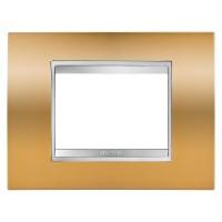 Cover Plate Chorus LUX IT, Metallised Technopolymer, Gold, 3 modules, Horizontal