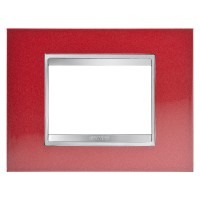 Cover Plate Chorus LUX IT, Metal, Glamour Red, 3 modules, Horizontal