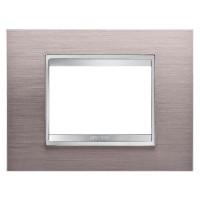 Cover Plate Chorus LUX IT, Metal, Brushed Aluminium, 3 modules, Horizontal