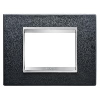 Cover Plate Chorus LUX IT, Leather, Black, 3 modules, Horizontal
