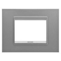 Cover Plate Chorus LUX IT, Monochrome Metal, Monochrome Aluminium, 3 modules, Horizontal
