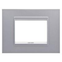 Cover Plate Chorus LUX IT, Monochrome Metal, Monochrome Titanium, 3 modules, Horizontal