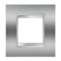 Cover Plate Chorus LUX INTERNATIONAL, Metallised Technopolymer, Chrome, 2 modules, Horizontal, Vertical
