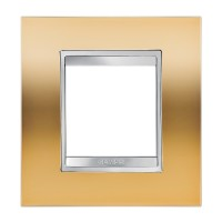 Cover Plate Chorus LUX INTERNATIONAL, Metallised Technopolymer, Gold, 2 modules, Horizontal, Vertical