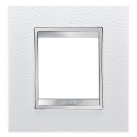 Cover Plate Chorus LUX INTERNATIONAL, Technopolymer Leather Finish, White, 2 modules, Horizontal, Vertical