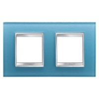 Cover Plate Chorus LUX INTERNATIONAL, Glass, Aquamarine, 2+2 modules, Horizontal