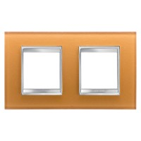 Cover Plate Chorus LUX INTERNATIONAL, Glass, Ochre, 2+2 modules, Horizontal