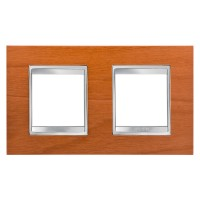 Cover Plate Chorus LUX INTERNATIONAL, Technopolymer Wood Finish, Cherry, 2+2 modules, Horizontal