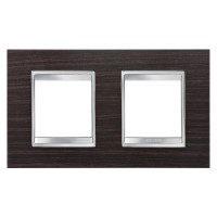Cover Plate Chorus LUX INTERNATIONAL, Technopolymer Wood Finish, Wenge, 2+2 modules, Horizontal