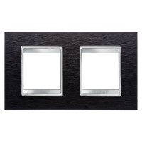 Cover Plate Chorus LUX INTERNATIONAL, Metal , Black Aluminium, 2+2 modules, Horizontal