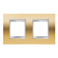 Cover Plate Chorus LUX INTERNATIONAL, Metallised Technopolymer, Gold, 2+2 modules, Horizontal