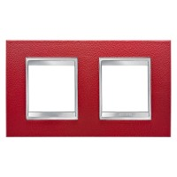 Cover Plate Chorus LUX INTERNATIONAL, Technopolymer Leather Finish, Ruby, 2+2 modules, Horizontal