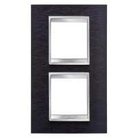 Cover Plate Chorus LUX INTERNATIONAL, Metal , Black Aluminium, 2+2 modules, Vertical