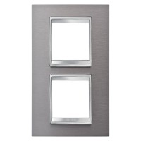 Cover Plate Chorus LUX INTERNATIONAL, Metal , Brushed Stainless Steel, 2+2 modules, Vertical
