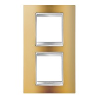 Cover Plate Chorus LUX INTERNATIONAL, Metallised Technopolymer, Gold, 2+2 modules, Vertical