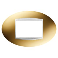 Cover Plate Chorus ART IT, Metallised Technopolymer, Gold, 3 modules, Horizontal