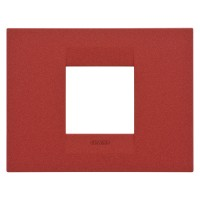 Cover Plate Chorus GEO IT, Painted Technopolymer Pastel Colours, Ruby, 2 modules, Horizontal