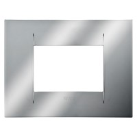 Cover Plate Chorus GEO IT, Metallised Technopolymer, Chrome, 3 modules, Horizontal