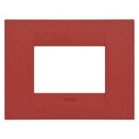 Cover Plate Chorus GEO IT, Painted Technopolymer Pastel Colours, Ruby, 3 modules, Horizontal