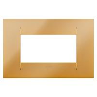Cover Plate Chorus GEO IT, Metallised Technopolymer, Gold, 4 modules, Horizontal