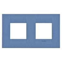 Cover Plate Chorus GEO INTERNATIONAL, Painted Technopolymer Pastel Colours, Sea Blue, 2+2 modules, Horizontal