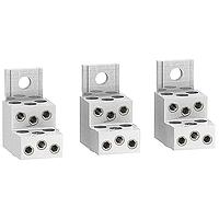 Aluminium connectors for 6 cables, set of 3