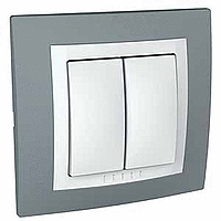 Complete double one-way Switch, 10 AX, White/Technical grey